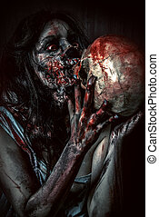 frightening - Frightening bloody zombie girl with a skull. ...