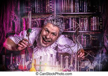 frightening scientist - Crazy old man medieval scientist ...