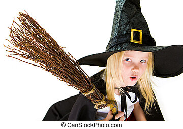 Frightening witch - Portrait of girl in halloween costume...
