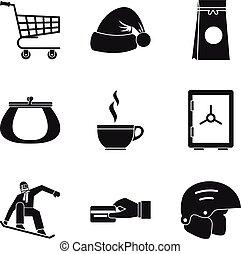 Frigid icons set, simple style - Frigid icons set. Simple ...