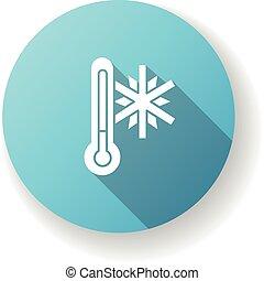 Frigid temperature blue flat design long shadow glyph icon. ...