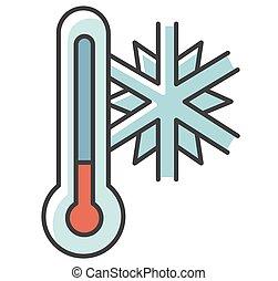 Frigid temperature RGB color icon. Winter frost, cold ...