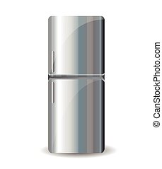 frigorifero, bianco, isolato, fondo