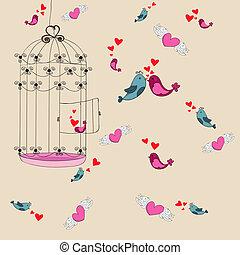 frihed, elsk fugl, baggrund, valentine
