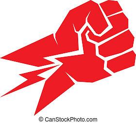 frihet, concept., vektor, näve, icon., röd
