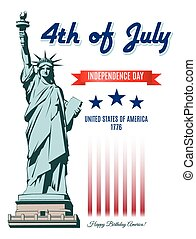 frihet, dag, staty, oberoende