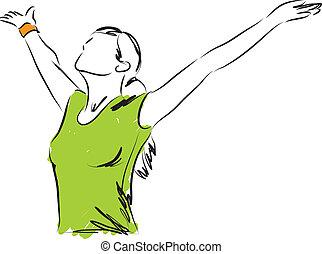 frihet, flicka, andning, illustration
