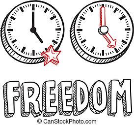 frihet, från, arbete, skiss