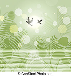 frihet, miljö, indikerar, bokeh, grön, duvor