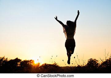 frihet, vacker, flicka, hoppning