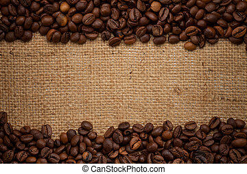 frijoles, café, arpillera, plano de fondo