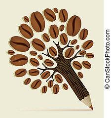 frijoles, café, concepto, árbol
