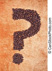 frijoles, café, hecho, pregunta, marca