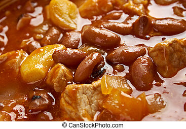 Frijoles Charros - traditional Mexican dish. by pinto beans...