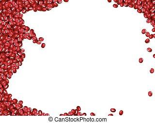 frijoles, fondo rojo