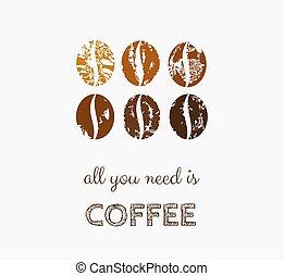 frijoles, símbolo, café