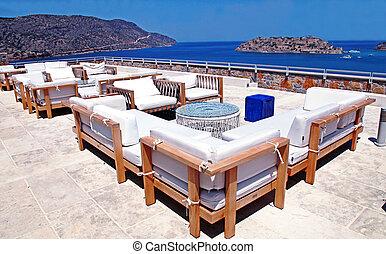 frilufts möblemang, och, terrassera, seaview, (crete, greece)