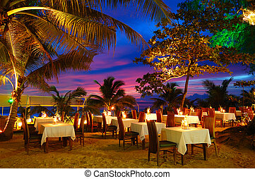 frilufts restaurang, under, thailand, strand, solnedgång, phuket