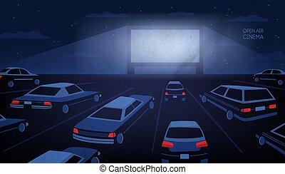 frilufts, utomhus, eller, drive-in, bio, teater, hos, night., stort, film skärma, glödande, in, mörker, omgiven, av, bilar, mot, kväll, sky, med, stjärnor, och, skyn, på, bakgrund., tecknad film, vektor, illustration.