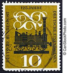 frimärke, 1960, ånga, tyskland, lokomotiv