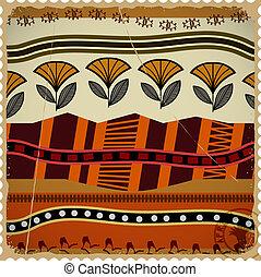 frimärke, abstrakt, struktur, afrikansk