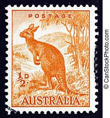frimärke, australien, 1942, känguru