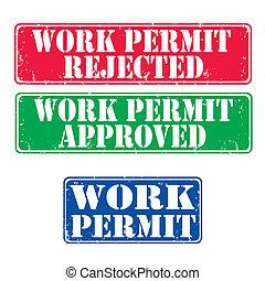 frimärken, arbete, skriftlig tillåtelsen