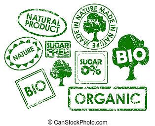 frimärken, för, organisk, frisk mat