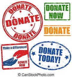 frimärken, sätta, donera