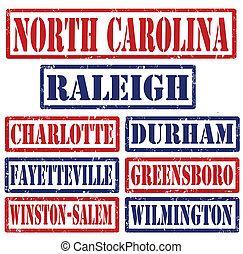 frimärken, städer, norra carolina