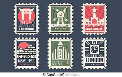 frimärken, tokyo, land, london, vektor, stad, illustration, kollektion, egypten, arkitektonisk, reykjavik, milstolpar, olik, moskva, amsterdam