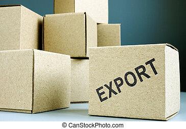 frimærke, box., eksporter, karton