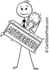 frimærke, stor hånd, gummi, autoriser, holde, forretningsmand, cartoon