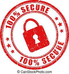 frimærke, vektor, secure