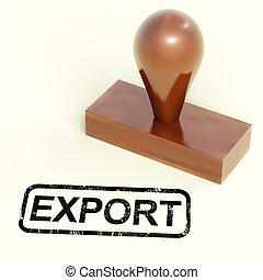 frimærke, viser, globale, produkter, eksporter, distribution