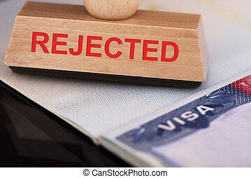 frimærke, visum, forkast