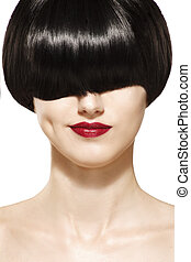 Fringe Hairstyle Beauty Girl with short Hair