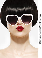 Fringe Hairstyle Beauty Girl with sun glasses on white