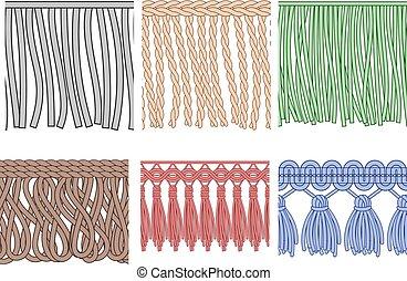 Fringe trim. Textile fringes, raw cloth edge and fashion...