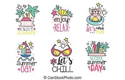 frio, divertimento, apreciar, modelos, vetorial, coloridos, ilustração, logotipo, cobrança, ter, dia, etiquetas, verão, aloha, cute, lets