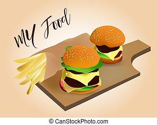 frire, délicieux, hamburger, juteux