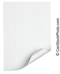 frisé, blanc, papier, bord