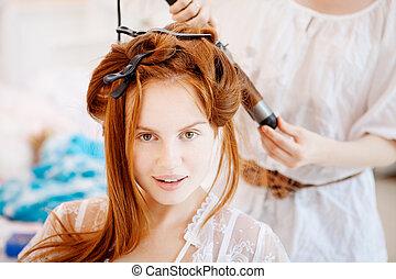 frisör, hår, brud, bröllop, märken, dag
