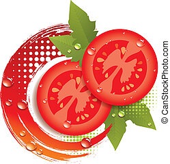 fris, abstract, vector, tomaten, achtergrond