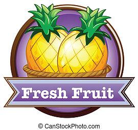 fris, ananassen, fruit, etiket