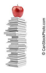 fris, appel, op, stapel, van, witte , boekjes