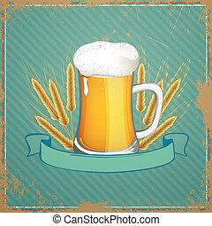 fris, bier, vector, lint