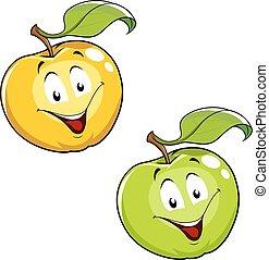 fris, blad, appel, rijp, spotprent