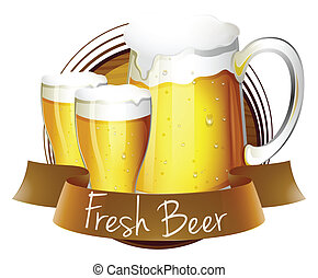 fris, de glazen van het bier, werper, etiket