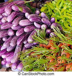 fris, en, organisch, groentes, op, landbouwers, market., straat, handel, in, sri, lanka.